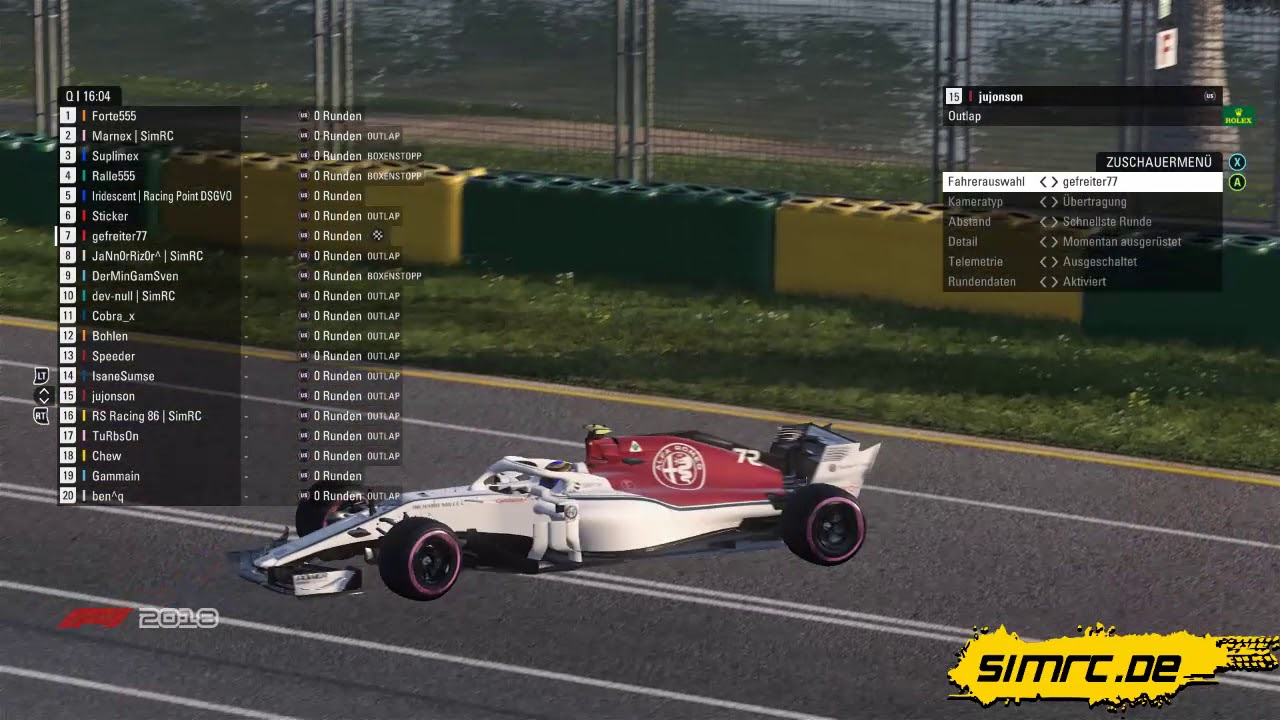 SimRC.de Friday League F1 2018 - Albert Park, Melbourne - 12.10.2018, 19 Uhr